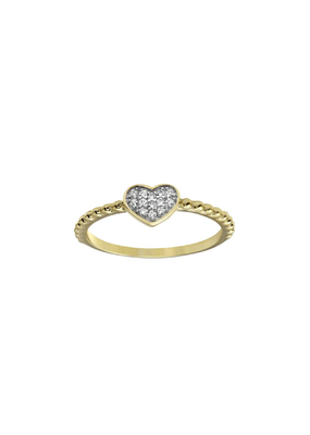Sterling Silver Gold Plated Heart CZ Ring