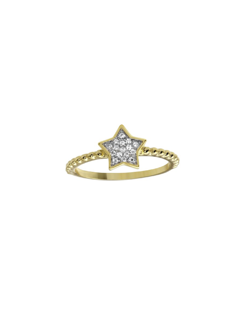 Sterling Silver Gold Plated Star CZ Ring