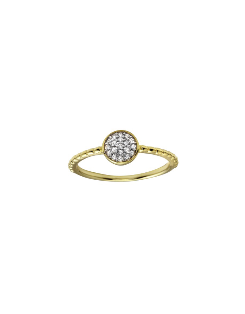 Sterling Silver Gold Plated Circle CZ Ring
