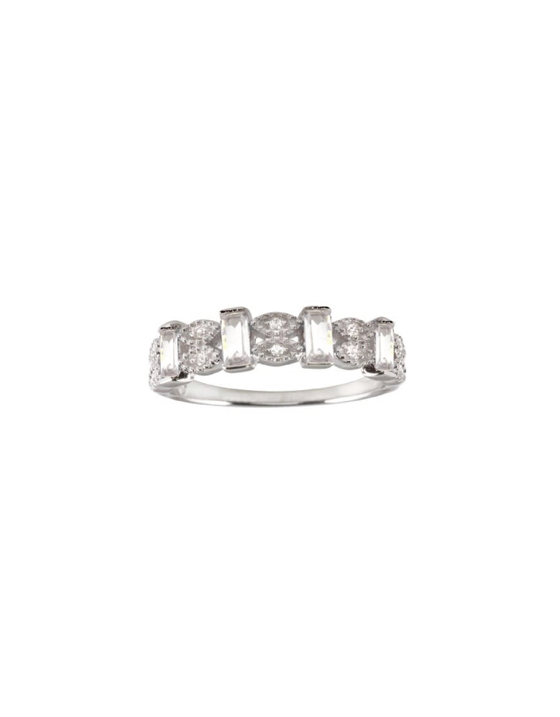 Sterling Silver Marquis Rectangle CZ Ring