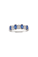 Italian Sterling Silver Marquis & Rectangle Blue CZ Ring