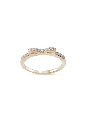 Sterling Silver Yellow Gold Plated and CZ Bow Ring