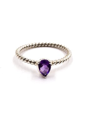 Tathata Europe Sterling Silver Rope Band Amethyst Stone SZ 7