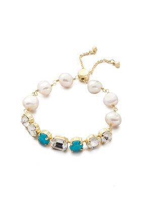 Sorrelli Cadenza Polished Pearl & Bright Gold Slider Bracelet