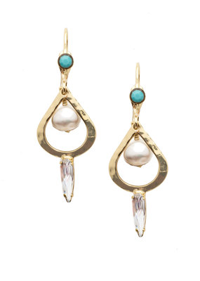 Sorrelli Ninetta French Wire Polished Pearl Bright Gold Earrings