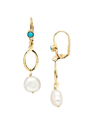 Sorrelli Milana French Wire Polished Pearl & Bright Gold Earrings