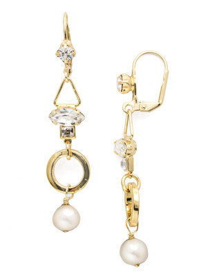 Sorrelli Aryana French Wire Polished Pearl & Bright Gold Earrings