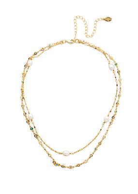 Sorrelli Ravenna Polished Pearl & Bright Gold Classic Necklace
