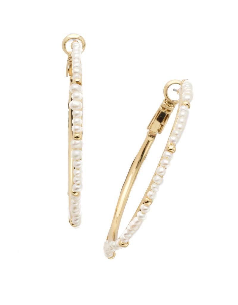 Sorrelli Elena Hoop Earrings in Polished Pearl