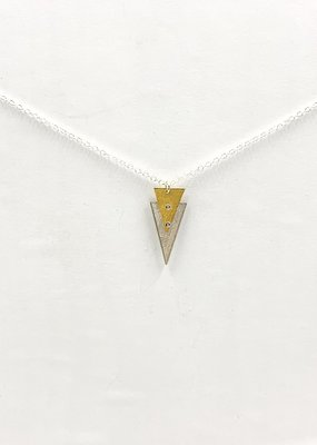 Zina Kao Riveted Triangle Sterling Silver w 23kt Vermeil Accent Necklace