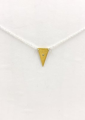 Zina Kao Large Triangle w CZ Sterling Silver w 23kt Vermeil Accent Necklace