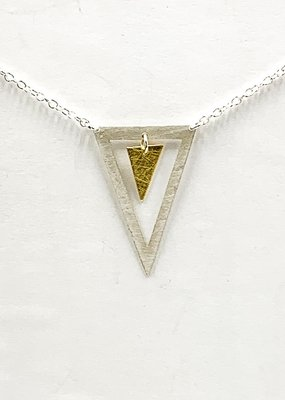 Zina Kao Open Triangle w Small Triangle Sterling Silver w 23kt Vermeil Accent Necklace