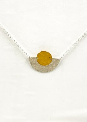 Zina Kao Mixed Disc and Slice Sterling Silver w 23kt Vermeil Accent Necklace
