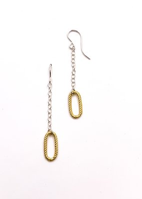Zina Kao Large Texture Link Chain Earring Sterling Silver w 23kt Vermeil Accent