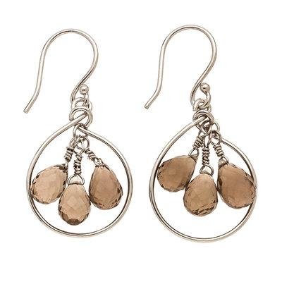 Trades Silver Teardrop & 3 Bead Smokey Quartz Earring