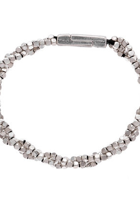 Trades Small Silver Bead Braided Bracelet
