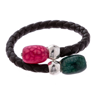 Trades Hot Pink & Green Gem Single Bead Wrap Bracelet