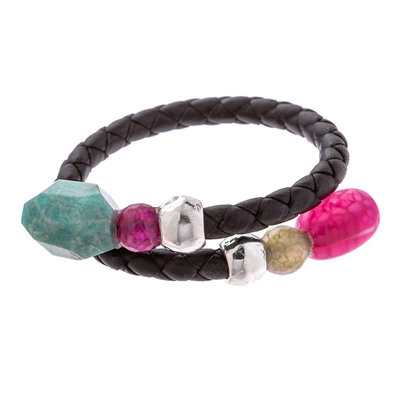 Trades Pink & Green Gem Double Bead Wrap Bracelet