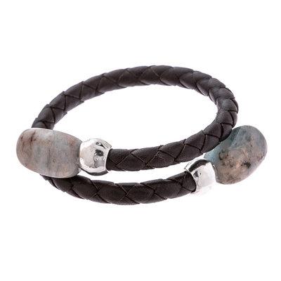 Trades Grey Gem & Single Silver Bead Wrap Bracelet