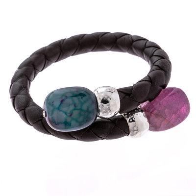 Trades Purple & Blue Gem Single Bead Wrap Bracelet