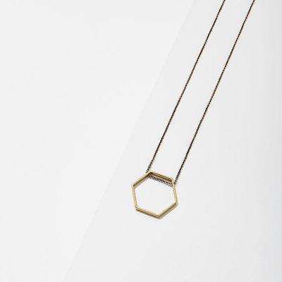Larissa Loden Brass Hexagon Horizon Necklace Extra Small