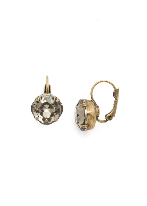 Sorrelli Cushion Cut French Wire Earrings in Black Diamond