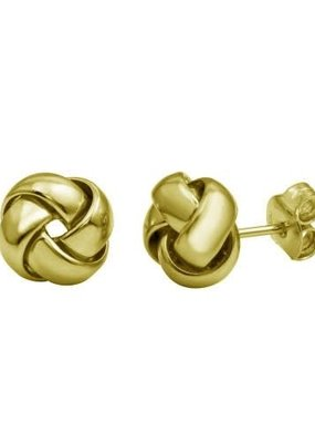 Qualita In Argento Sterling Silver Gold Knot Studs