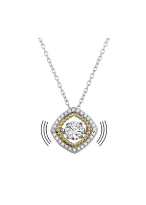 Sterling Silver Rhodium & Gold Plated Dancing Diamond Square Necklace