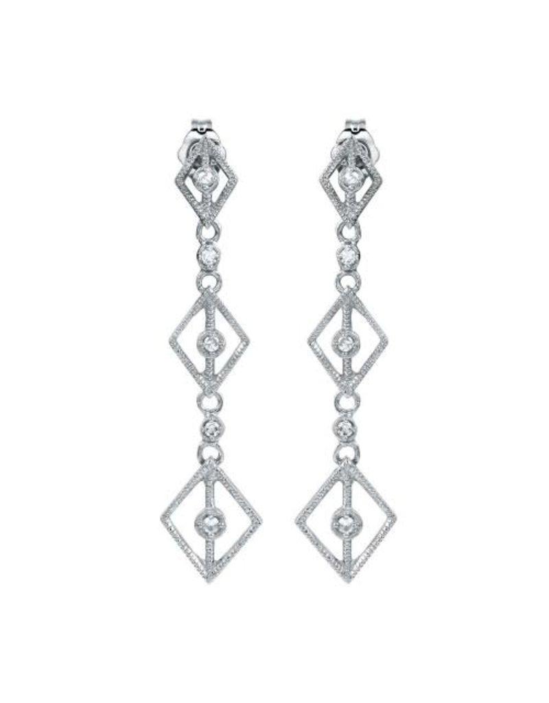 Sterling Silver Triple Kite CZ Drop Earring
