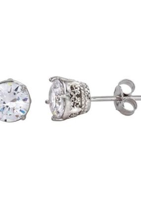 Qualita In Argento Sterling Silver Round Filigree CZ Studs