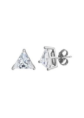Qualita In Argento Sterling Silver Rhodium Plated Triangle CZ Stud Earring