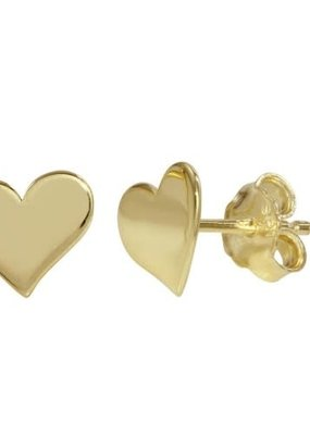 Qualita In Argento Sterling Gold Heart Studs