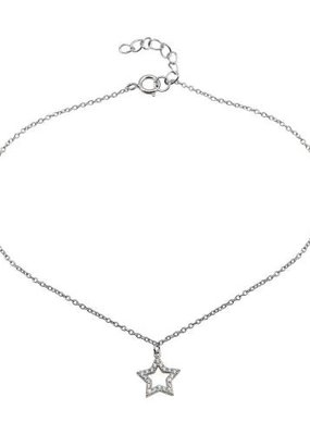 Qualita In Argento Sterling Silver Star & CZ Tear Drops Anklet