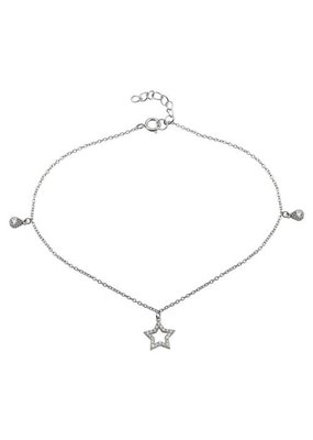 Sterling Silver Star & CZ Tear Drops Anklet