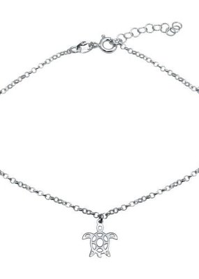 Qualita In Argento Sterling Silver Turtle Anklet
