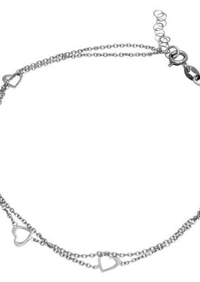 Qualita In Argento Sterling Silver Double Chain Open Heart Anklet