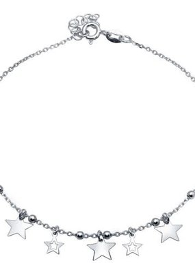 Qualita In Argento Sterling Silver Star Charms Anklet