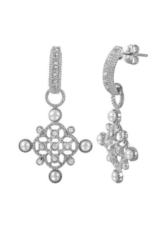 Sterling Silver Lattice & Pearl CZ Huggie Earring
