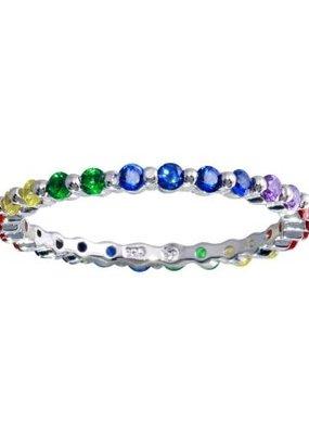 Qualita In Argento Italian Sterling Silver Rainbow Crystal Band