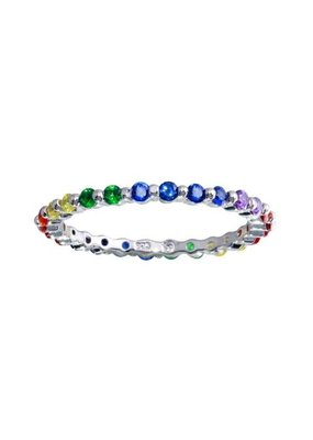 Sterling Silver Rainbow Crystal Band