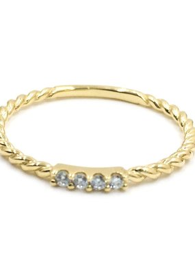 Qualita In Argento Italian Sterling Gold Twisted CZ Band