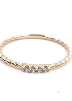 Qualita In Argento Italian Sterling Rose Gold Twisted CZ Band