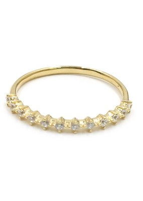 Qualita In Argento Italian Sterling Gold Kite CZ Band