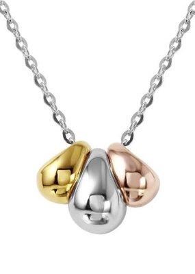 Qualita In Argento Italian Sterling Silver Tri-Tone Bead Necklace