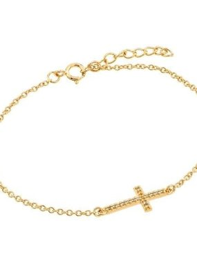 Qualita In Argento Italian Sterling Gold Cubic Zirconia Bracelet