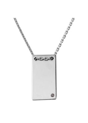 Sterling Silver Rectangle Pendant w Simple CZ
