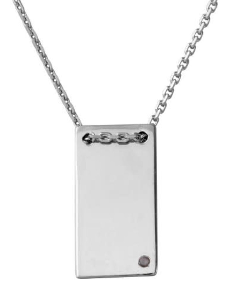 Qualita In Argento Italian Sterling Silver Rectangle Pendant w Simple CZ