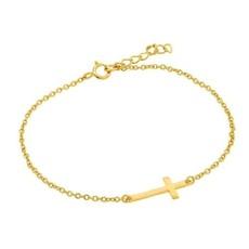 Sterling Gold Plain Cross Bracelet