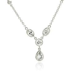 Sterling Silver Cubic Zirconia Drop Necklace