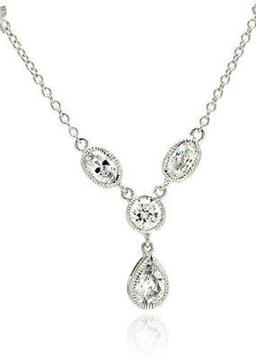 Qualita In Argento Italian Sterling Silver Cubic Zirconia Drop Necklace
